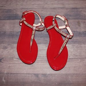 Red/Tan Coach Sandals Size 7.5
